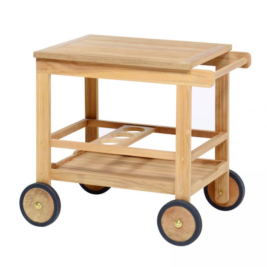 k chenwagen mit 4 r dern servierwagen teewagen teak holz wetterfest teakholz ebay. Black Bedroom Furniture Sets. Home Design Ideas